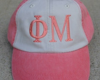 Phi Mu two toned baseball cap with embroidered greek letters
