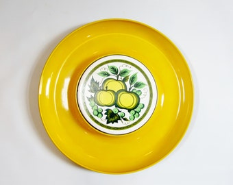 Vintage MODERN Cheese Plate Round YELLOW Serving Platter