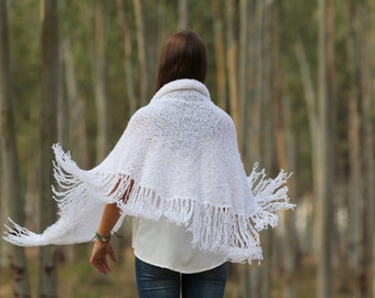 White Wraps Shawl Long Fringe Scarf, knitted Scarf Evening shawl Womens Clothing Accessories Crochet Shawl
