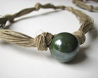 Ceramic Dark Olive - linen necklace