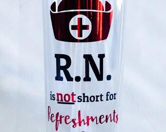 Nurse RN 16oz acrylic tumbler / R.N.