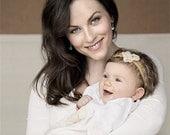 Baby Headband Flower - Baby Headband - Ivory Gold Headband - Flower Headband - Infant Headband - Newborn Baby Headband - Fall AutumnColors