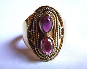 COA:NM Signature Series! Amethyst 24 Kt Gold on Sterling Silver Ring. Size 6.