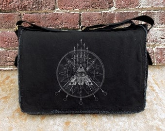 Messenger Bag with Compass Arrows & Eye Illustration - Screen Printed Cotton Canvas Messenger - Black
