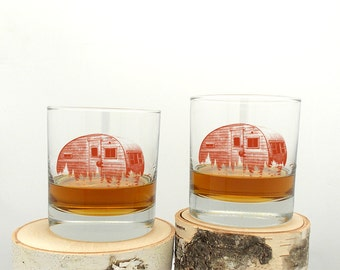 Retro Red Camper Whiskey Glasses - Screen Printed Rock Glass Set
