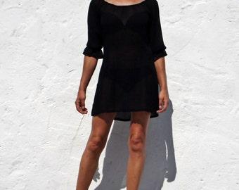 Black sheer tunic black beach cover up black blouse sheer blouse black vegan blouse vegan tunic black sheer top