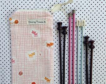 Long Knitting Needle Bag/Knitting Organizer/Zip Pouch, Cats with Yarn