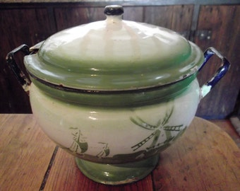 antique ENAMELWARE SOUP TUREEN, green and white, windmill, boats on a lake