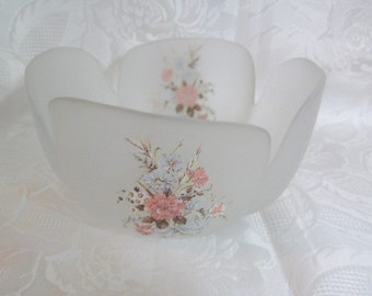 Viking Frosted Glass Bowl Floral Design | Made in USA | Decorative Bowl