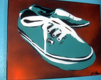 VANS Classic Shoes in Teal & White Stencil Art Painting by Jessica Pope Kicks ~