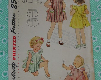 Vintage Pattern c.1948 Simplicity No.2540 Baby, Doll Dress, Panties, Size 6 Months