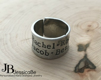 Hand Stamped Ring ~ Mother's Ring ~ Personalized Ring ~ kid's Names ~ Cuff Ring ~ JessicaBe ~ Handmade Ring ~ Personalized Mommy Ring ~ Ring