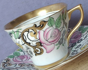 Vintage 1950's Pink Rose Teacup and Saucer, Rosina tea cup, Hand painted tea cup, Mid Century tea cup, Daffodils teacup, English bone china