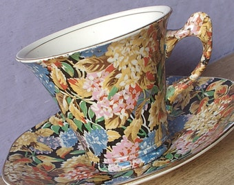 Vintage 1920's English Chintz teacup and saucer, James Kent Hydrangea tea cup set, Flower handle teacup, Antique black china teacup