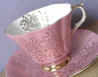 Vintage 1960's Pink Bone China teacup and saucer, Queen Anne tea cup, English tea cup, fluted Pink tea cup, Pink wedding gift for bride