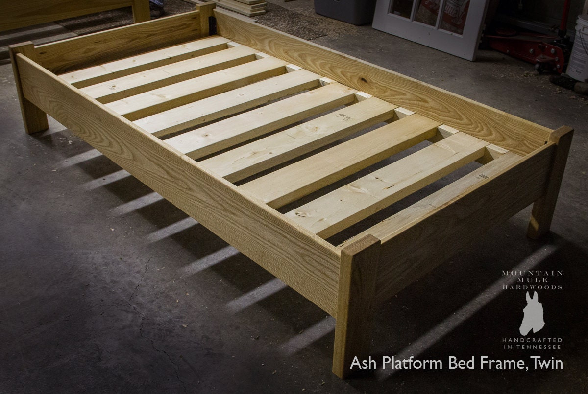 Simple twin size platform bed frame custom made from american for Custom made bed frame