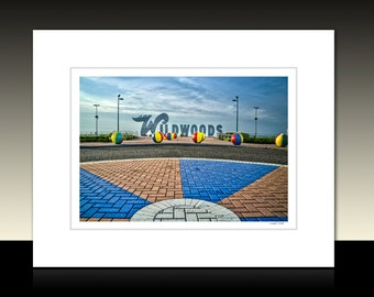Wildwood New Jersey Sign Matted Print, Wildwood Boardwalk Morey's Pier, Ready for framing or available framed