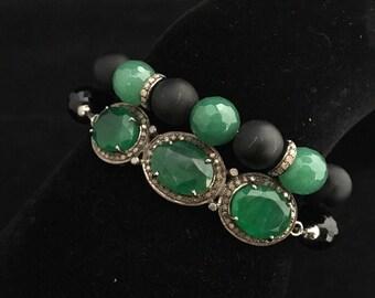 Gorgeous triple stone green onyx and diamond set