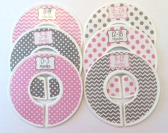 Baby Closet Dividers 6 Pre-Cut Organizers Pink & Gray Grey Chevron and Polka Dots for Baby Shower Gift for Clothing Decor Assembled or DIY