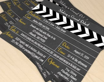 Hollywood Movie Clapboard Printable Baby Shower - Movie Party, Hollywood Party, Star Is Born, Red Carpet Movie Star, Hollywood Movie, Debut
