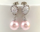 Light Pink Pearl Earrings - Rosaline Swarovski Pearl Bridesmaids Earrings - Cubic Zirconia Silver Wedding Earrings Cotton Candy Pink