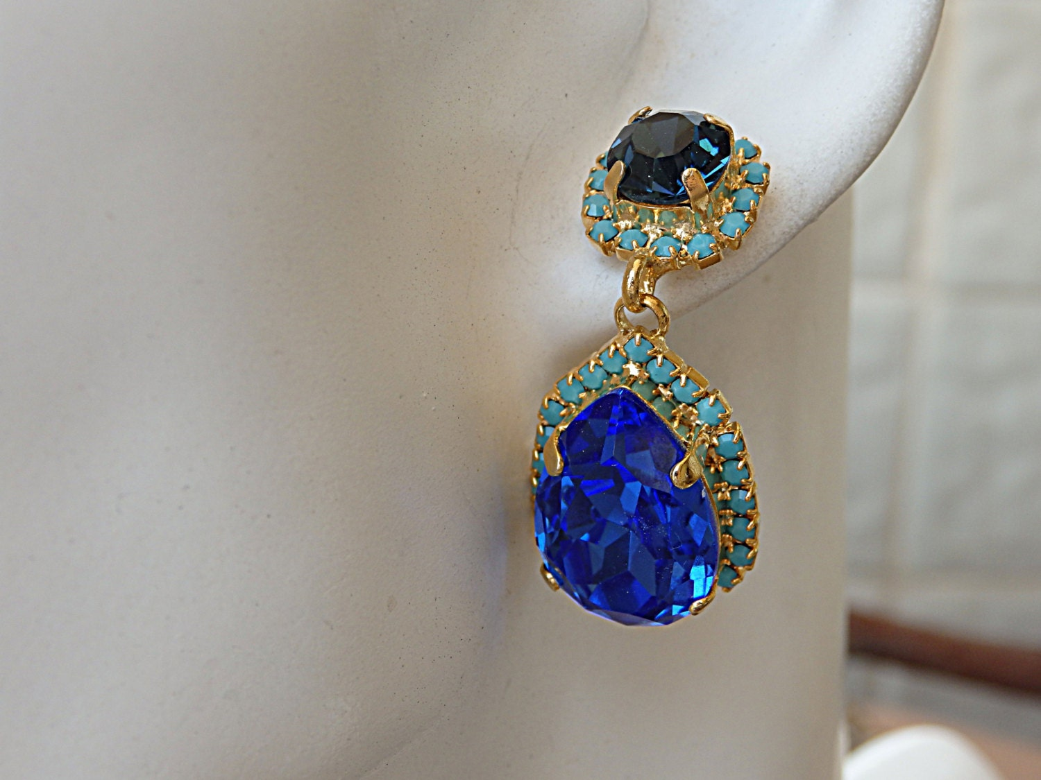 Blue Sapphire Earrings Navy And Turquoise Swarovski Crystal Chandelier