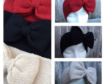 Knit Headband, Bow Headband, Adult Headband, Knit Headband with Bow