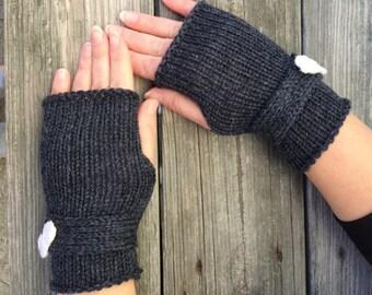 Dark Grey Fingerless Gloves, Bow Gloves, Gift for Her, Fingerless Gloves, Gloves with Bow, Wrist Warmers, Texting Gloves
