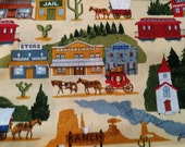 Quiltsy Destash Party. Fabric.  Playful old western town cotton fabric.  Baby Quilts.  Man Cave.  Boys room.  Tack Room.  Barn Decor. Rustic