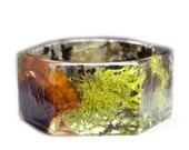 Forest Jewelry- Green Bracelet- Real Moss Bracelet- Flower Jewelry- Resin Jewelry- Flower Bangle- Flower Bracelet