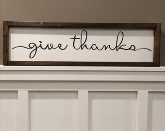 "Ready to ship * 25.5x7 ""Give Thanks"" sign 