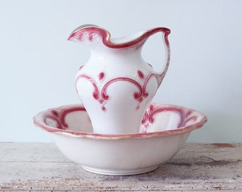 Fabulous Raspberry Pink and White Antique Pitcher and Wash Bowl Set