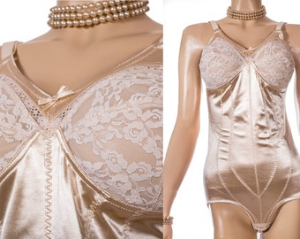 As new 1990's vintage 'Silhouette' glossy gold liquid satin nylon elastane and lace medium control  All in One Foundation Garment - 3728