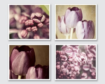 Purple Home Print or Canvas Wrap Set, Radiant Orchid Purple Flower Prints, Soft Lilacs Tulips, Pastel Purple Art, Purple Flower Pictures.