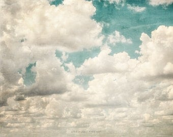 Texas Sky Print or Canvas Wrap, Clouds Picture of Clouds, Nursery Decor, White Cream Aqua Teal, Landscape Photography, Cloud Photograph.