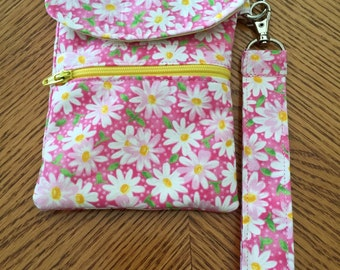 Small Wristlet- Cell Phone Holder- Credit Card Holder- Small Purse- Wallet- Daisy