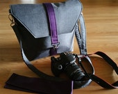 Womens camera bags,-Dslr camera bag-Bag Purse-Camera case-Bonus BackSide Pocket plus Strap cover-MIDNIGHT KISSES Blackberry and Heather Gray