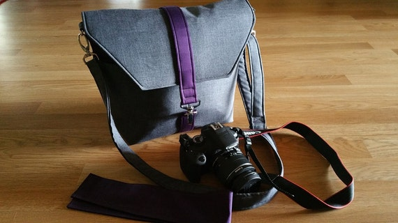 Womens camera bags,-Dslr camera bag-Bag Purse-Camera case-Bonus BackSide Pocket plus Strap cover-MIDNIGHT KISSES Blackberry and Heather Gray