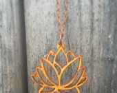 Wood Lotus Flower Chain Necklace