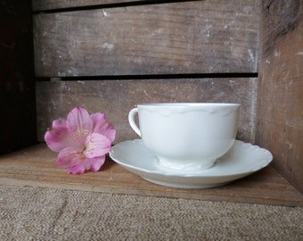 Haviland France Tea Cup Saucer Ranson China Teacup Saucer Antique Pattern Vintage English French Regency Edwardian Victorian White Cup