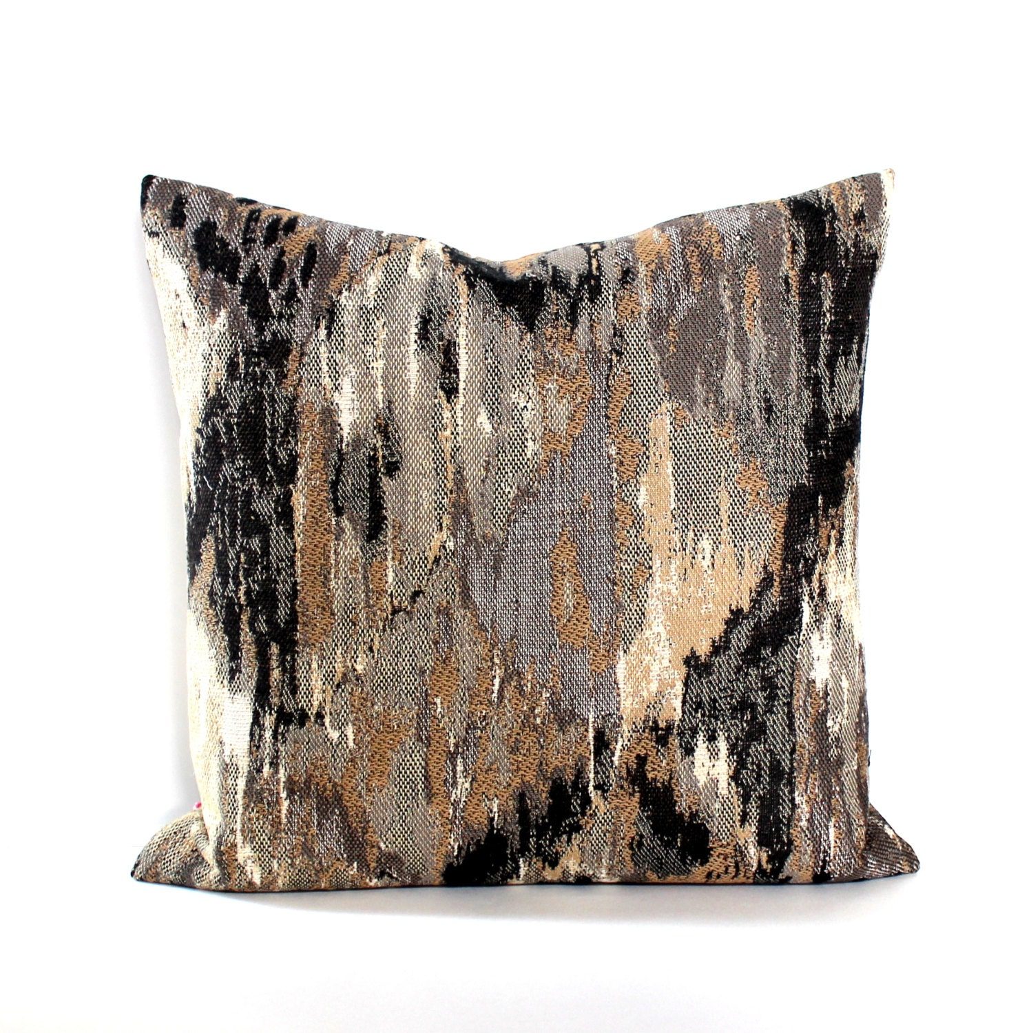 18x18 Black Brown Grey Beige Abstract Decorative Accent Throw