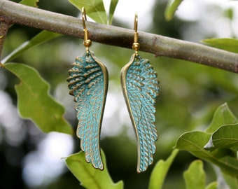 Angel Wing Earrings - Verdigris Patina Earrings - Verdigris Angel Wings - Fantasy Earrings - Rustic Angel Wings - Steampunk - Two Feathers