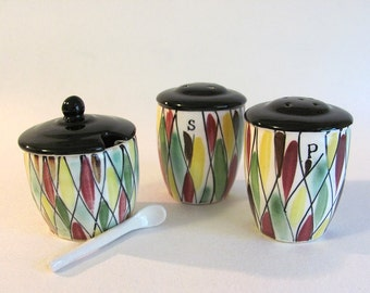 Vintage Porcelain Ceramic Salt, Pepper & Sugar? Set- Hand Painted Harlequin Pattern - Japan