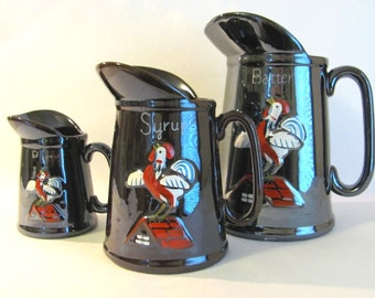 Vintage Ceramic Pancake Breakfast Set- Batter, Syrup & Butter Pitchers With Roosters