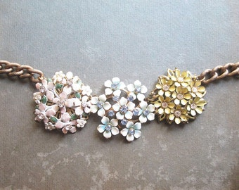 Floral Rhinestone Assemblage Necklace / Sparkly Statement Necklace / Repurposed Vintage Jewelry / Pastel Enamel Flowers