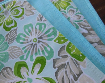 Beach Placemats - Tropical Flower Placemats - Set of Four - Reversible - Shades of Green and Aqua Blue - Perfect Summer Beach Placemats