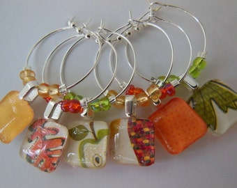 Log Cabin Wine Charms Yellow Corn Orange Leaf Green Apple Set of Six - Glass Wine Charms - Hostess Gift - House Warming Gift - Entertaining