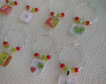 Lime Green and Brick Red Wine Charms - Green Glass Charms - Set of Eight - Red Wine Charms - Hostess Gift - House Warming - New Years Eve