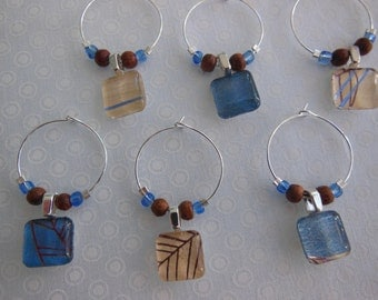 Rustic Glass Wine Charms - Brown Wine Charms - Blue Glass Charms - Set of Six - Glass Wine Charms Made by Pillowscape Designs - Hostess Gift