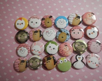 24 Cute Animals Pinback Button Party Favors Brooches